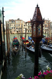 Gondolas in Venice. Daytime shot of gondolas docked along the water in Venice, Italy royalty free stock photo
