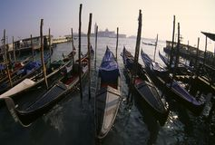 Gondolas Venice. Gondolas shot in Venice, Italy with a 16mm fisheye-lens Royalty Free Stock Photo