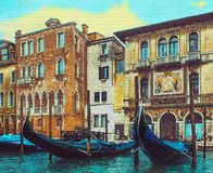 Gondolas in Venice on the backgrownd of old houses. Illustration of Venetian gondolas on the background of old houses, made in the style of pencil drawing stock illustration