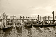 Gondolas In Venice. Black and white Stock Photography