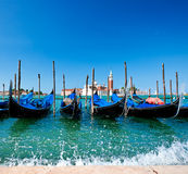 Gondolas in Venice on Grand canal Royalty Free Stock Photography