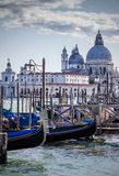 Gondolas in Venice. With historic buildings in the background Royalty Free Stock Photography