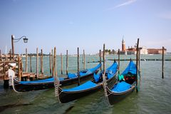 Gondolas in Venice, Italy. A view of some gondolas in Venice, Italy Stock Photo