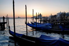 Gondolas of Venice in italy Stock Photo