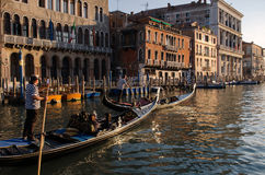 Gondolas in Venice. VENICE, ITALY - 11 MARCH:  Some gondolas in Venice finally become wheelchair accessible on March 11, 2016 Royalty Free Stock Image