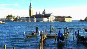Gondolas in Venice stock video