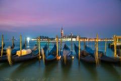 Gondolas in Venice Italy Sea at night Italy City. Royalty Free Stock Photos