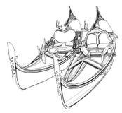 2 gondolas. Venice, Italy. / vector illustration royalty free illustration