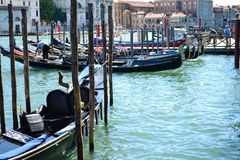 Gondolas in Venice Italy. View  of gondolas   and historical  buildings in  Venice , Italy Royalty Free Stock Image