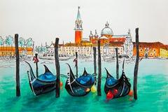 Gondolas in Venice lagoon, Italia. Gondolas moored by Saint Mark square with San Giorgio di Maggiore church in the background in Venice lagoon, Italia. Picture stock illustration