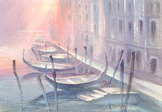 Gondolas in Venice morning watercolor. Watercolor painting of Gondola on canal in Venice in a morning mist. Illustration of Venice Stock Photo