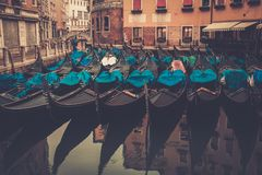 Gondolas in Venice. Picture of a many gondolas Stock Photography