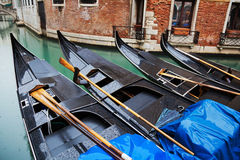 Gondolas in Venice in a row Stock Image