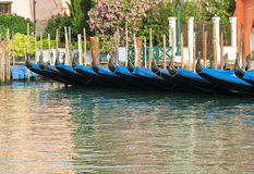 Gondolas in Venice in summer. Royalty Free Stock Photo