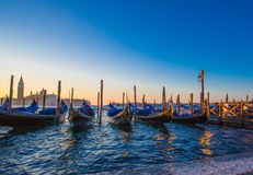 Gondolas in Venice by sunrise Royalty Free Stock Images