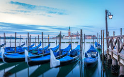 Gondolas in Venice at sunrise Stock Photography