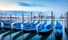 Gondolas in Venice at sunrise Royalty Free Stock Images