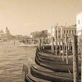 Gondolas in Venice in vintage tone Royalty Free Stock Photos