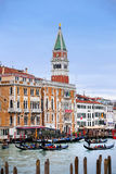 Gondolas in Venice water canal Royalty Free Stock Photos