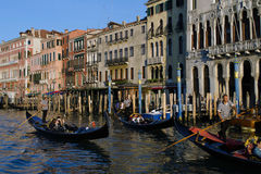 Gondolas in Venice. VENICE, ITALY - 11 MARCH:  Some gondolas in Venice finally become wheelchair accessible on March 11, 2016 Stock Photography