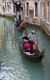 Gondolas in Venitian Canal Stock Photography