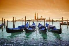 Gondolas with view of San Giorgio Maggiore Stock Image