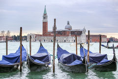 Gondolas with view of San Giorgio Maggiore in Venice Royalty Free Stock Photos