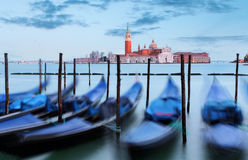 Gondolas with view of San Giorgio Maggiore, Venice, Italy Royalty Free Stock Image