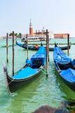 Gondolas and view of San Giorgio Maggiore Royalty Free Stock Photo