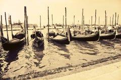 Gondolas at the wharf Venice Italy Stock Images