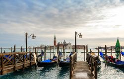 Gondolas in the winter day, Venice, Italy stock photo