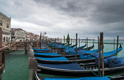 Gondolas in winter Venice Stock Photo