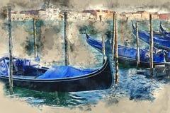 Gondole à Venise - service de gondole dans les canaux illustration stock