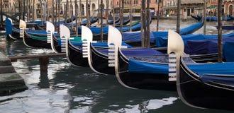 Gondole attraccate in una fila Fotografia Stock