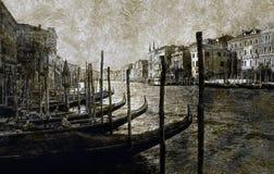 Gondole che parcheggiano a Venezia Immagine Stock