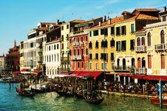 Gondole, kolorowa architektura, kanał grande, Wenecja, Włochy, Europa fotografia royalty free