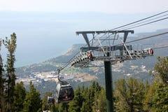 Gondole merveilleuse de montagne, le lac Tahoe du sud, Etats-Unis Photos stock
