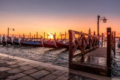 Gondole in San Marco Square - Venice Italy. This one of the best view in Venice. The sunrise in Piazza San Marco royalty free stock image