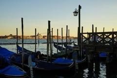 Gondole Stazio Danieliin the warm afternoon light. Venice, Italy royalty free stock photography
