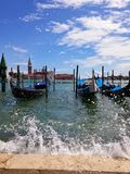 Gondole. The typical vessels you can find in Venice royalty free stock photography