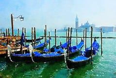 Gondoler på pir i Venedig royaltyfri illustrationer