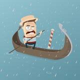 Gondolero veneciano gruñón en tiempo lluvioso libre illustration