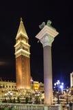 Gondoles à l'hôtel de tourisme et au casino vénitiens Image libre de droits