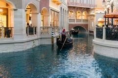 Gondoles dans le vénitien à Las Vegas Images libres de droits