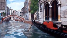 Gondoles vides sur un canal de l'eau à Venise, Italie illustration stock
