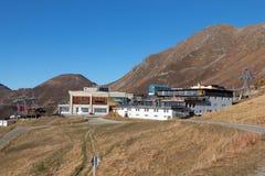 Gondoli dźwignięcia stacyjnego domu terminus halna przerwa Verbier Switzerland zdjęcia royalty free