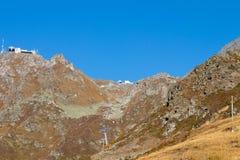 Gondoli dźwignięcia stacyjnego domu terminus halna przerwa Verbier Switzerland obraz stock