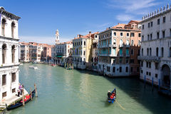 Gondoliar float at canal. L near Realto bridge. Venice Stock Image