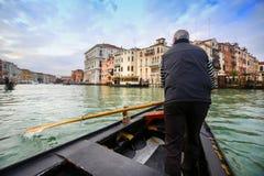 Gondolier in gondola Royalty Free Stock Photo