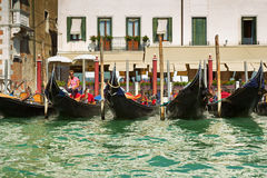 Gondolier and gondolas Royalty Free Stock Images